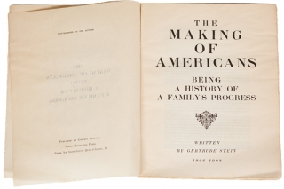 The Making of Americans Being A History of a Family's Progress. Gertrude Stein